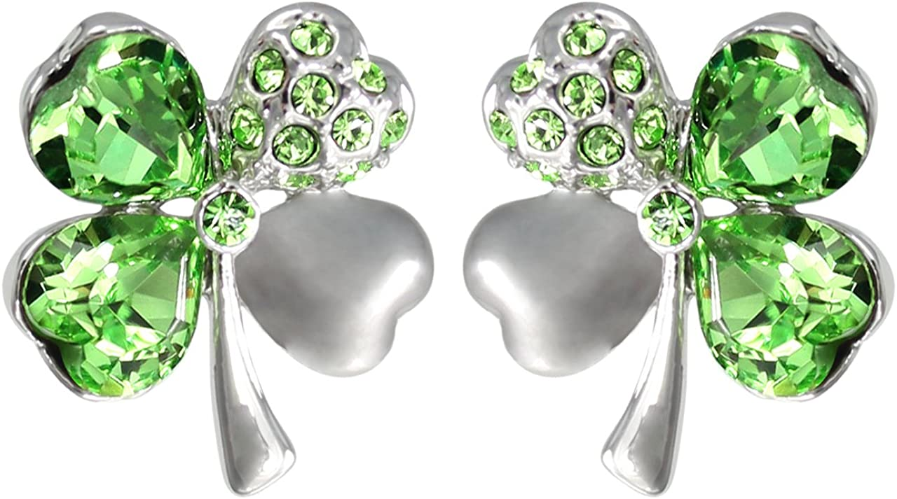 Dahlia Four Leaf Clover Stud Earrings with Swarovski Crystals, Rhodium Plated