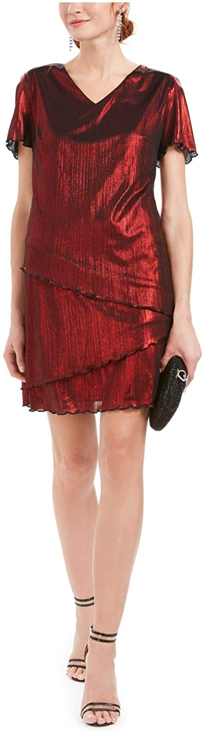 Connected Apparel Womens Red Ruffled Shimmer Short Sleeve V Neck Above The Knee Sheath Cocktail Dress Size 8P