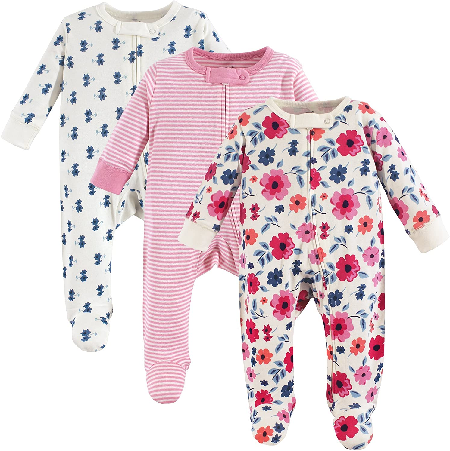 Touched by Nature unisex baby Organic Cotton and Play Sleepers, Garden Floral, 3-6 Months US