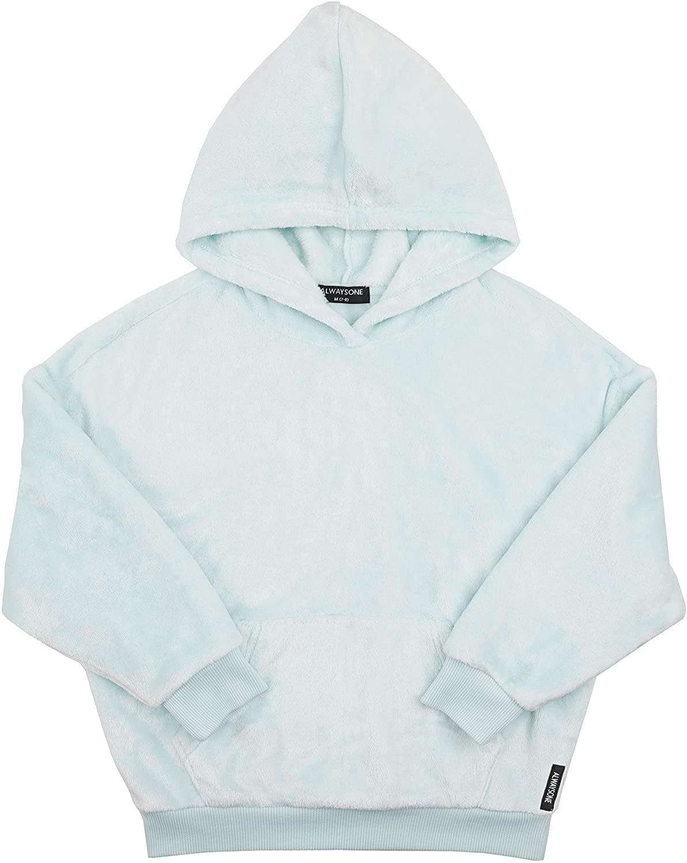 ALWAYSONE Girls Warm Double Fuzzy Hoodie Soft Fleece Pullover Fashion Flannel Sweatshirt Outwear with Pocket