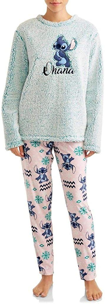 Disney Women's Lilo and Stitch Ohana Plush Fleece 2 Piece Pajama Sleep Set