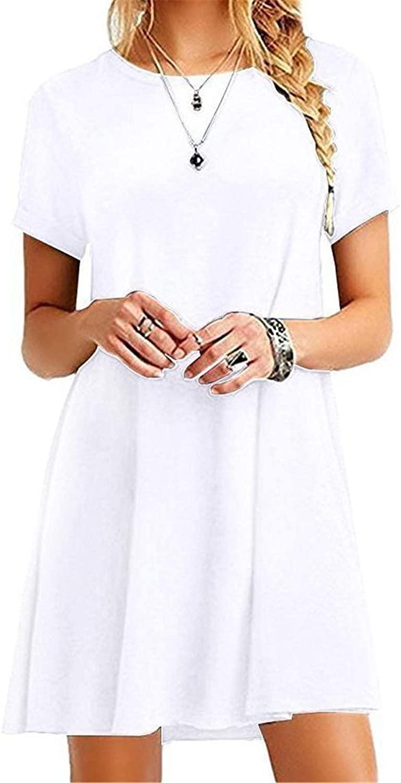 Soluo Women's Summer Casual T-Shirt Dresses Short Sleeve Swing Dress (White,Large)