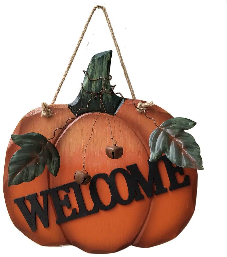 LaZimnInc Wood Pumpkin Hanging Welcome Sign, Rustic Welcome Hanging Sign for Autumn Harvest Thanksgiving Decorations with Metal Leaves and Bell