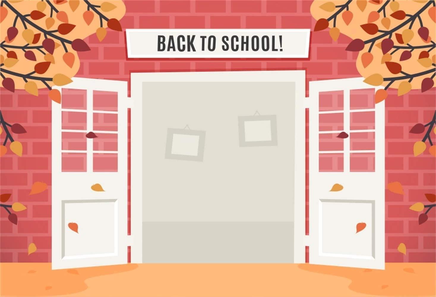 10x8ft Back to School Backdrop Vinyl Cartoon Opened School Gate Maple Trees Brick Wall Illustration Photography Background Pupil Kindergarten Students Portrait Classroom Decors Wallpaper