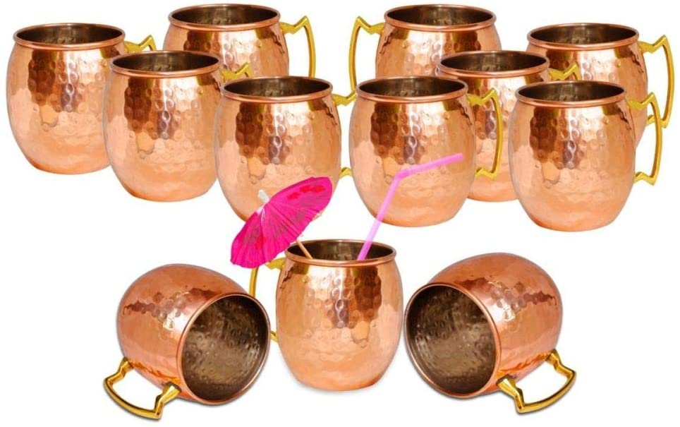 Navratan-Handicraft Copper Hammered Mugs for Moscow Mules – (16-ounce/set of 12, Smooth, Nickel Lined)- Lacquered Finish