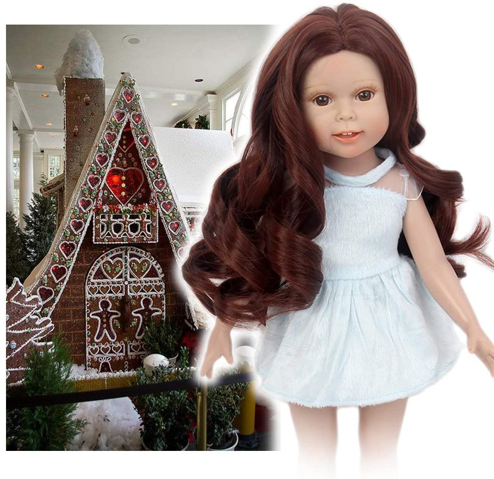STfantasy Doll Wig for 18 Inches Doll Girls Gift Brown Long Curly Synthetic Hair