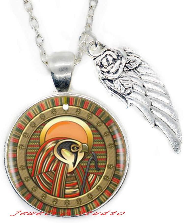 Eye of Ra Logo Pendant Necklace Egyptian Sun God Symbol Handmade Necklace Women Jewelry-HZ0268