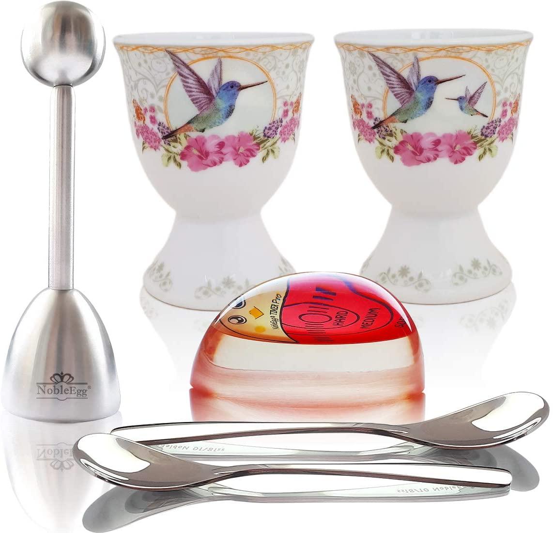 NobleEgg Premium Egg Cup Set for Soft Boiled Eggs   Egg Timer Pro, Exquisite Porcelain Egg Cups, 18/10 Egg Spoons, Egg Topper, Gift/Storage Box