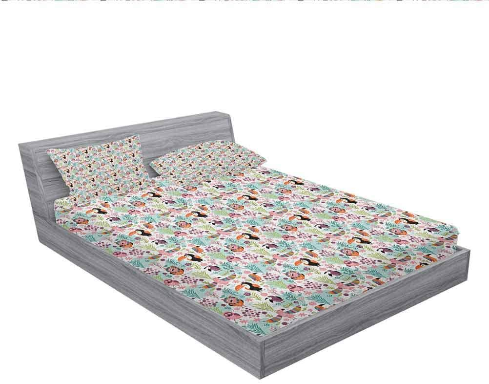 LCGGDB Tropical Bed Fitted Sheet Set,Exotic Birds Pattern Cartoon Style Toucan Owls and Parrots Hawaii Flora and Fauna,1 Fitted Sheet and 2 Pillowcases,Cal-King Size,Multicolor