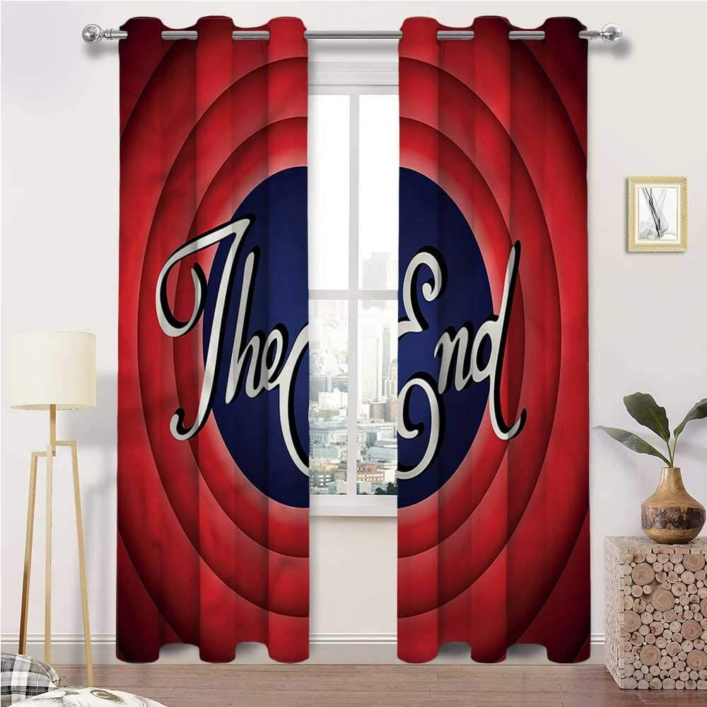 Interestlee Curtains for Living Room 1950s Cute Grommet Window Drapes Colorful Movie Ending Screen Set of 2 Panels, 72 Width x 63 Length