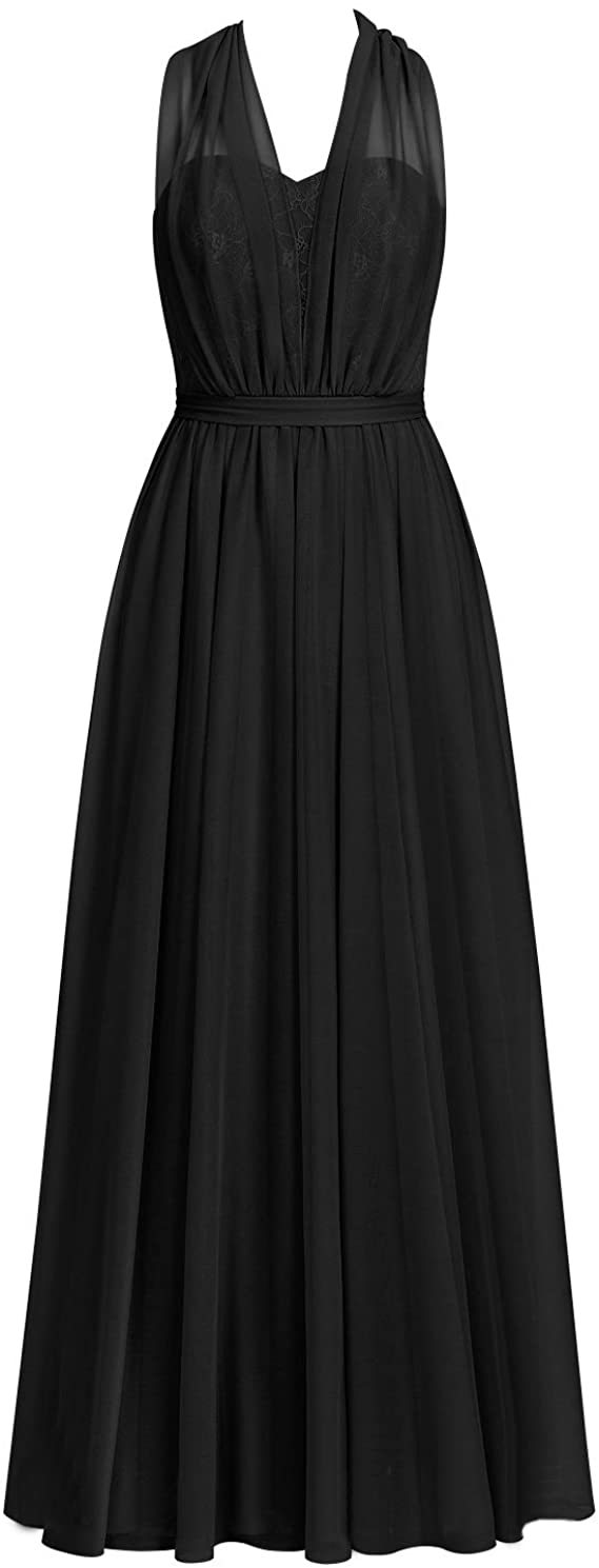 Long Chiffon Bridesmaid Dresses Prom Evening Gowns Party Formal Dress Halter Lace Convertible