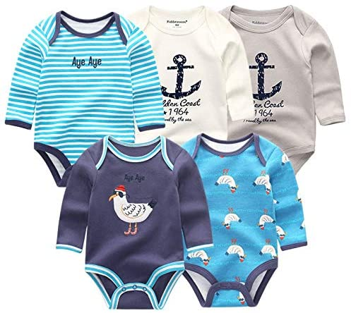 DUAN The New Baby Girl Clothes, 5 Pieces/Group 100% Cotton Long Sleeves 0-3 Months Baby Girl Clothes, Cartoon Baby Romper Baby Clothes Girl for Wear on The Body Gift Photograph Western Style
