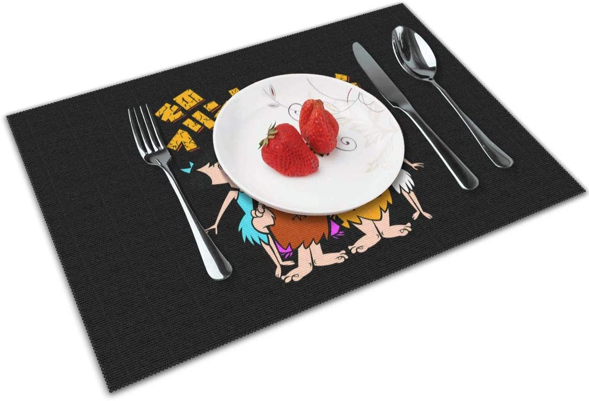 Qwtywqekeertyi T-H-E F-Lint-S-Tone-S C-La-Ssic Table Placemat Heat-Resistant Placemat PVC Table Mat Kitchen Table Mat 12x18 Inches.