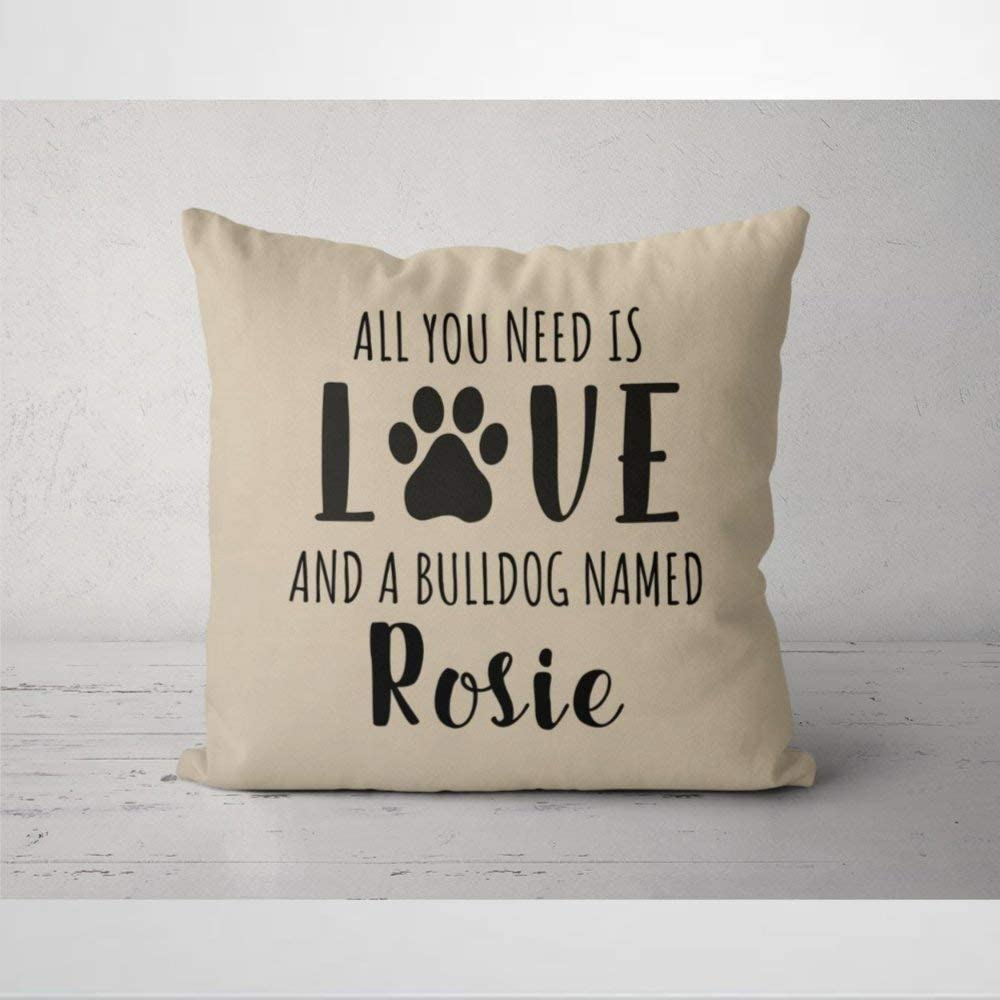 DONL9BAUER All You Need is Paw Love & English Bulldog Named Throw Pillow Case Pillow Cover Square Decorative Cushion Cover for Home Car Sofa Couch Bedroom Decor, 20x20 Housewarming Gift