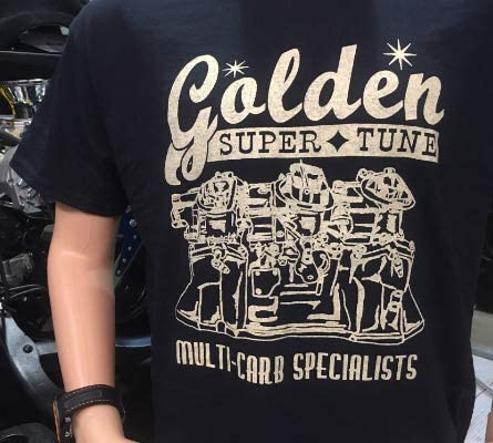 GOLDEN SUPER TUNE T-SHIRT SIZE LARGE Tee Mens RACE CITY RETRO Six Pack Tri Power T-Shirt Hot Rod Muscle Car Gasser Super Stock Carburetor Fits Chevy Chevrolet Ford Dodge Mopar Plymouth Pontiac Gift