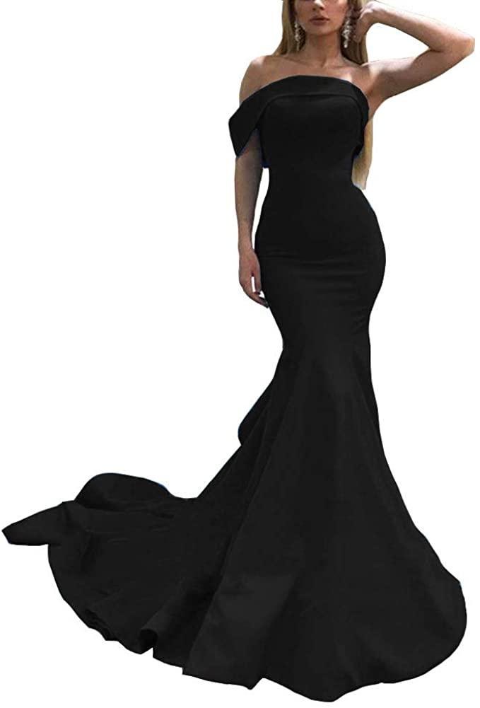 Emmani Women's One Shoulder Satin Prom Dress Mermaid Evening Ball Gown