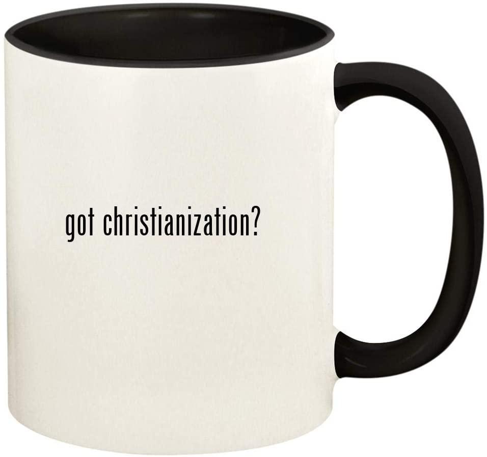 got christianization? - 11oz Ceramic Colored Handle and Inside Coffee Mug Cup, Black