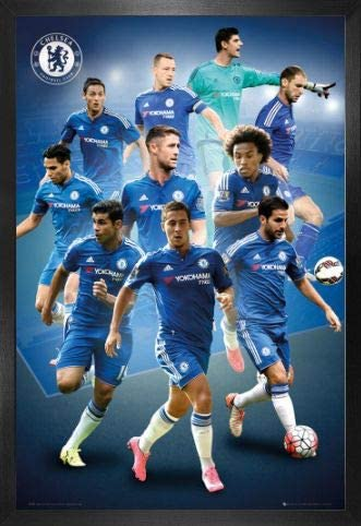 1art1 Football Poster and Frame (MDF) - Chelsea, Players 2015/16 (36 x 24 inches)