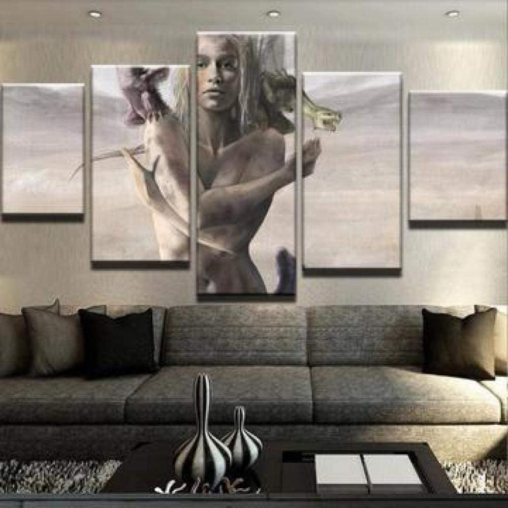 YUJEJ801 Wall Art Picture 5 Pieces Modern Painting Prints on Canvas Artwork Thrones Daenerys Targaryen Dragon Movie for Living Room Home Decoration Poster Multi-Size Wooden Framed