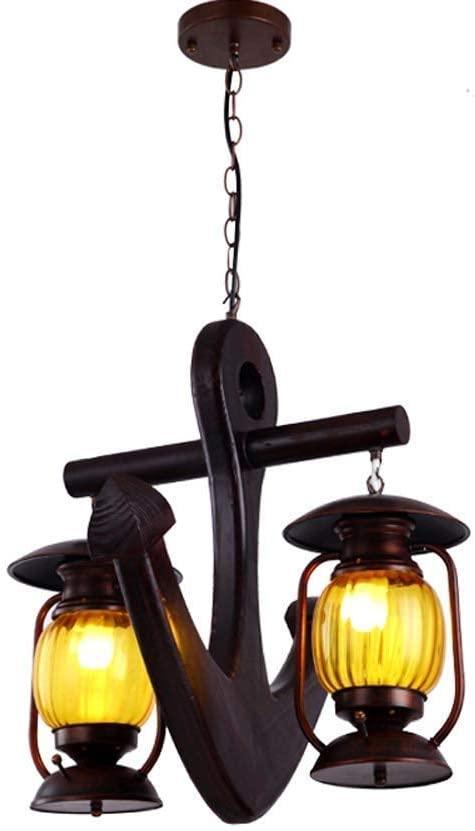 European Mediterranean Style Solid Wood Glass Restaurant Chandelier 2-Lights E27 Retro Industrial Metal Iron Chain Adjustable Pendant Light Bar Aisle Decorative Ceiling Lamp