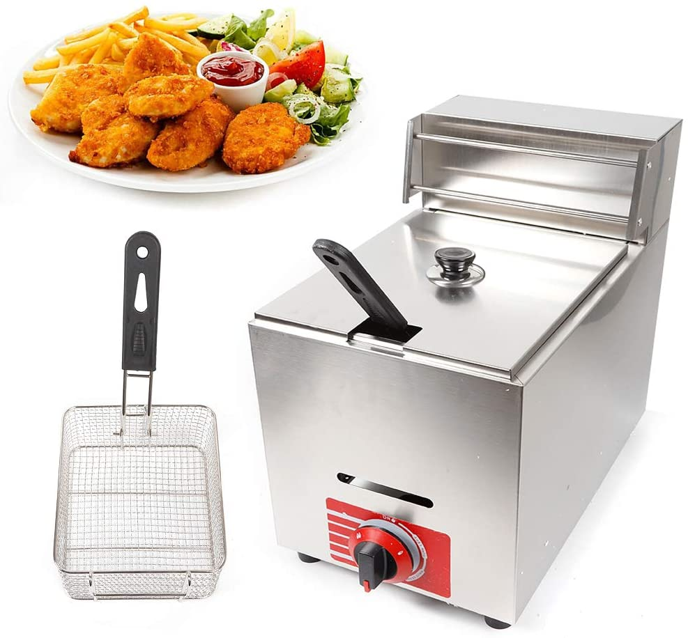 Deep Fryer Machine,KLD-71 Deep Fryer Propane 1Pot 1Basket French Fries Fried Chicken Commercial Counter Top Fry Food Stainless Steel Countertop Gas Fryer 10L