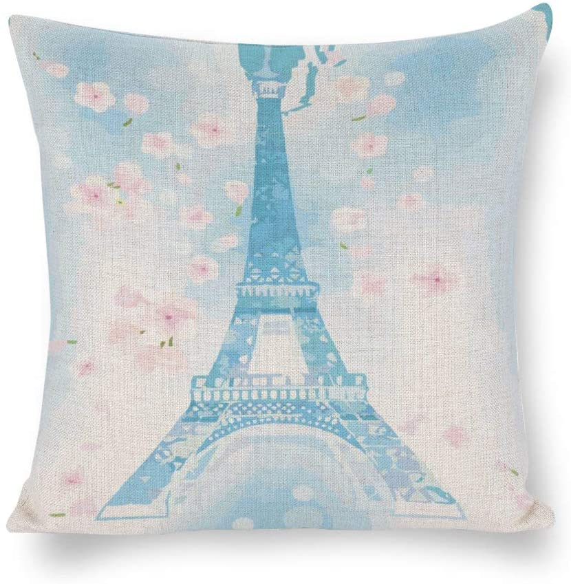 N/ A Retro Blue Effiel Tower Pillow Cover Linen,Vintage Romantic Paris Throw Pillow Case Cushion Cover for Sofa Couch, Decorative Pillowcase Rustc Farmhouse Home ljz7k09k9rok
