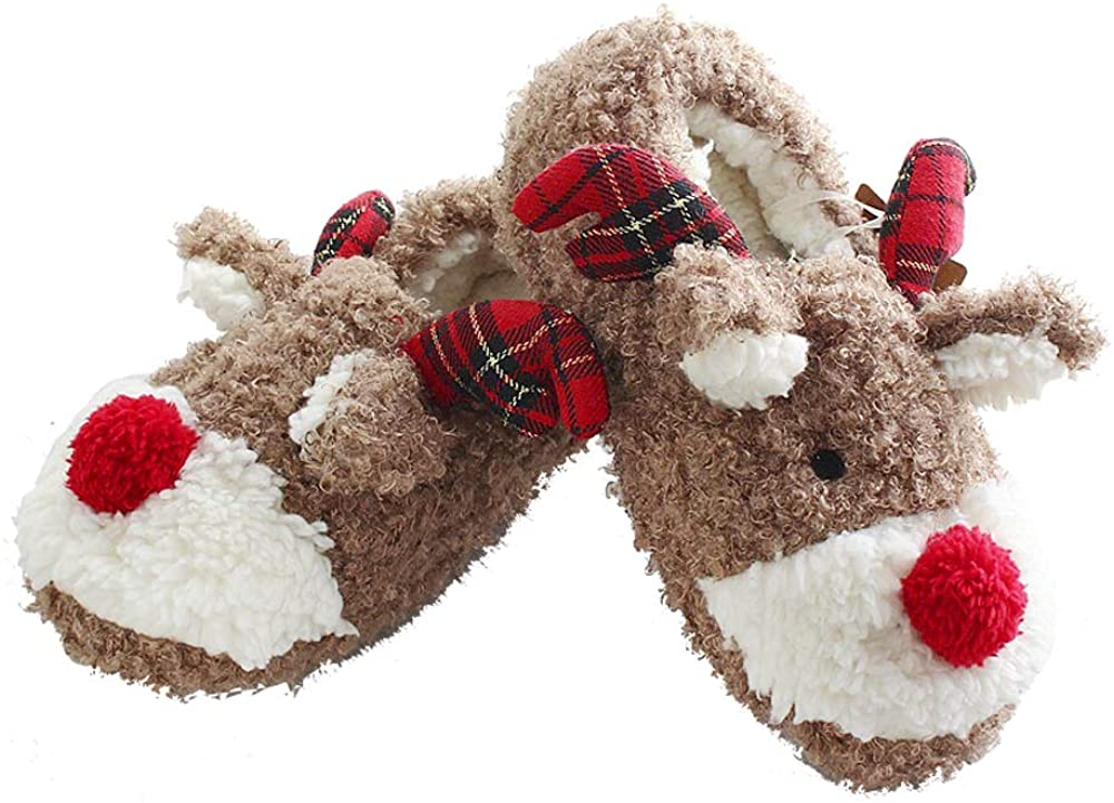 ANNALEMON Christmas Slippers for Women Fuzzy Reindeer House Shoes with Memory Foam