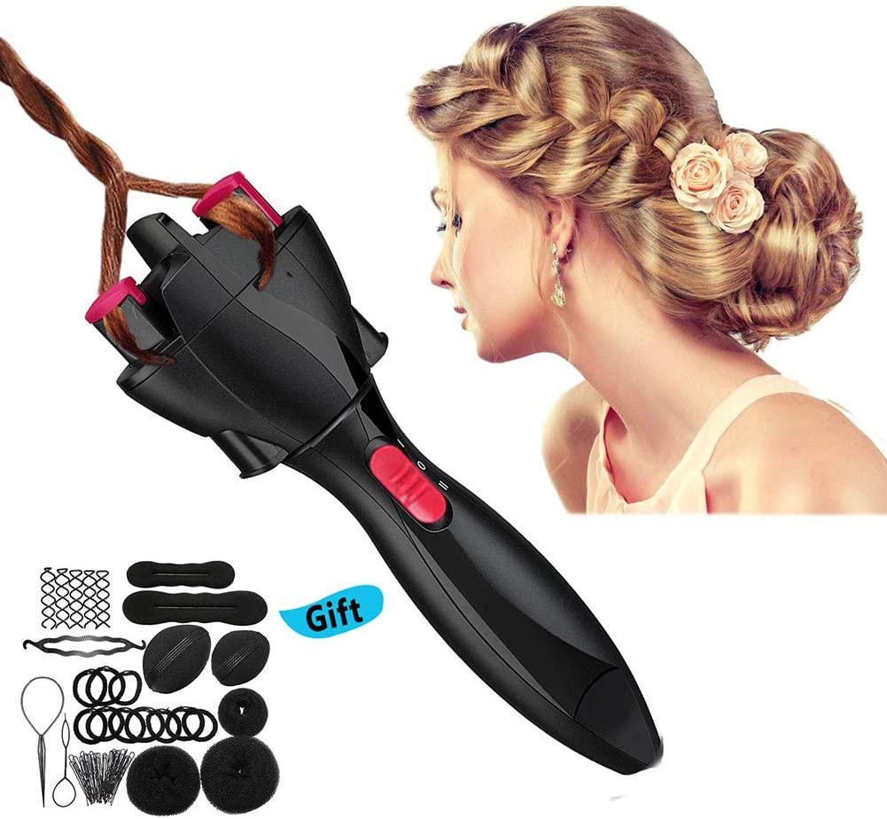 Electric Hair Braider, with 14pcs Hair Accessory Set, Automatic Knitted Device Hair Braider Styling Tools DIY Electric Two Strands Twist Braid Maker Hair Braider Machine
