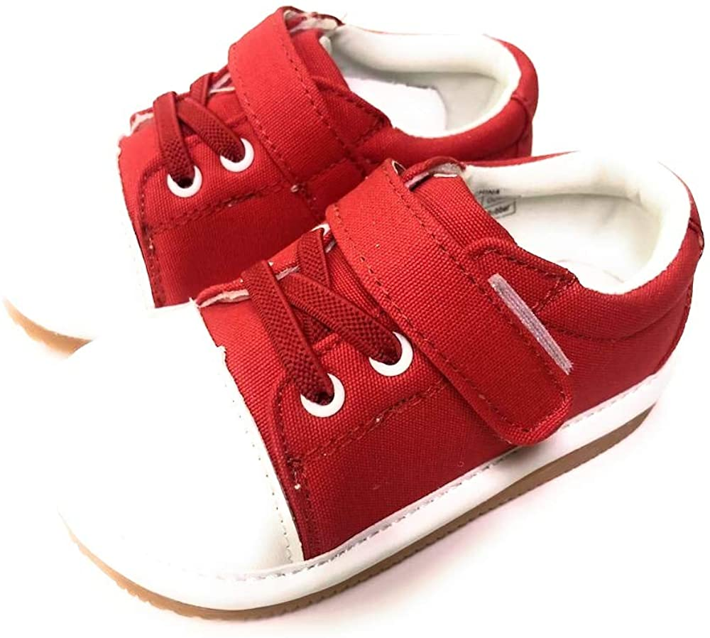 LilyPipSqueak Toddler Boys or Girl Squeaky Red Canvas Tennis Shoes Free Stoppers
