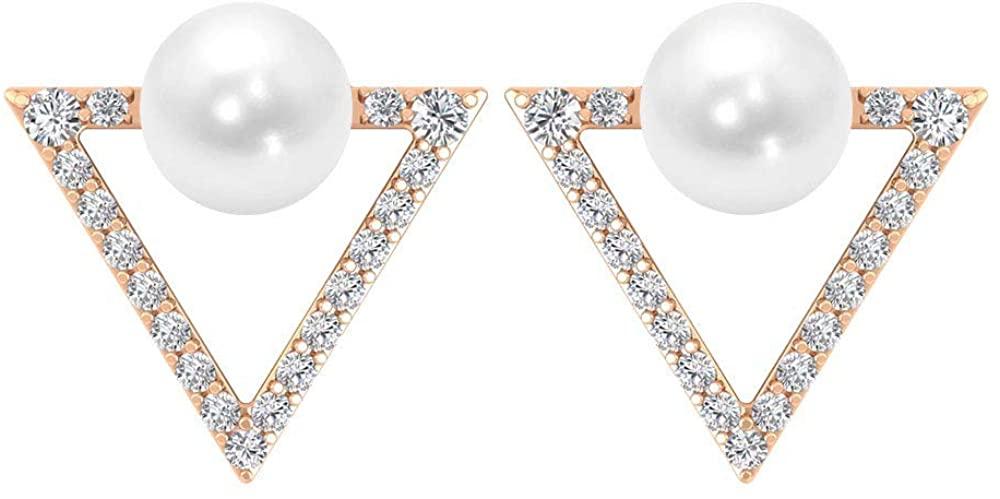 4 Ct Pearl Open Triangle Earring, Minimalist Diamond SGL Certified Stud Earring, HI-SI Color Clarity Diamond Bridal Wedding Earring, Valentine Gift, Screw Back