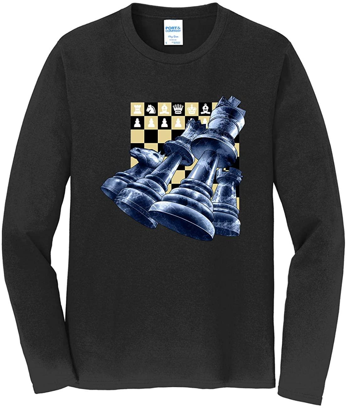 HARD EDGE DESIGN Men's Chess Pieces Long Sleeve T-Shirt, 2X-Large, Black