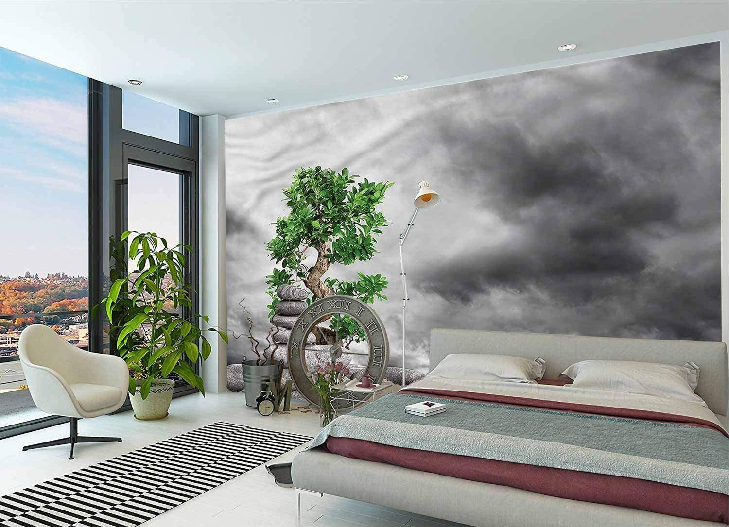 LCGGDB Zen Large Wall Mural,Stone Piles Balance Therapy Removable Large Sticker Foil Wall Decor for Office Kids Bedroom Nursery Family Decor-144x100 Inch
