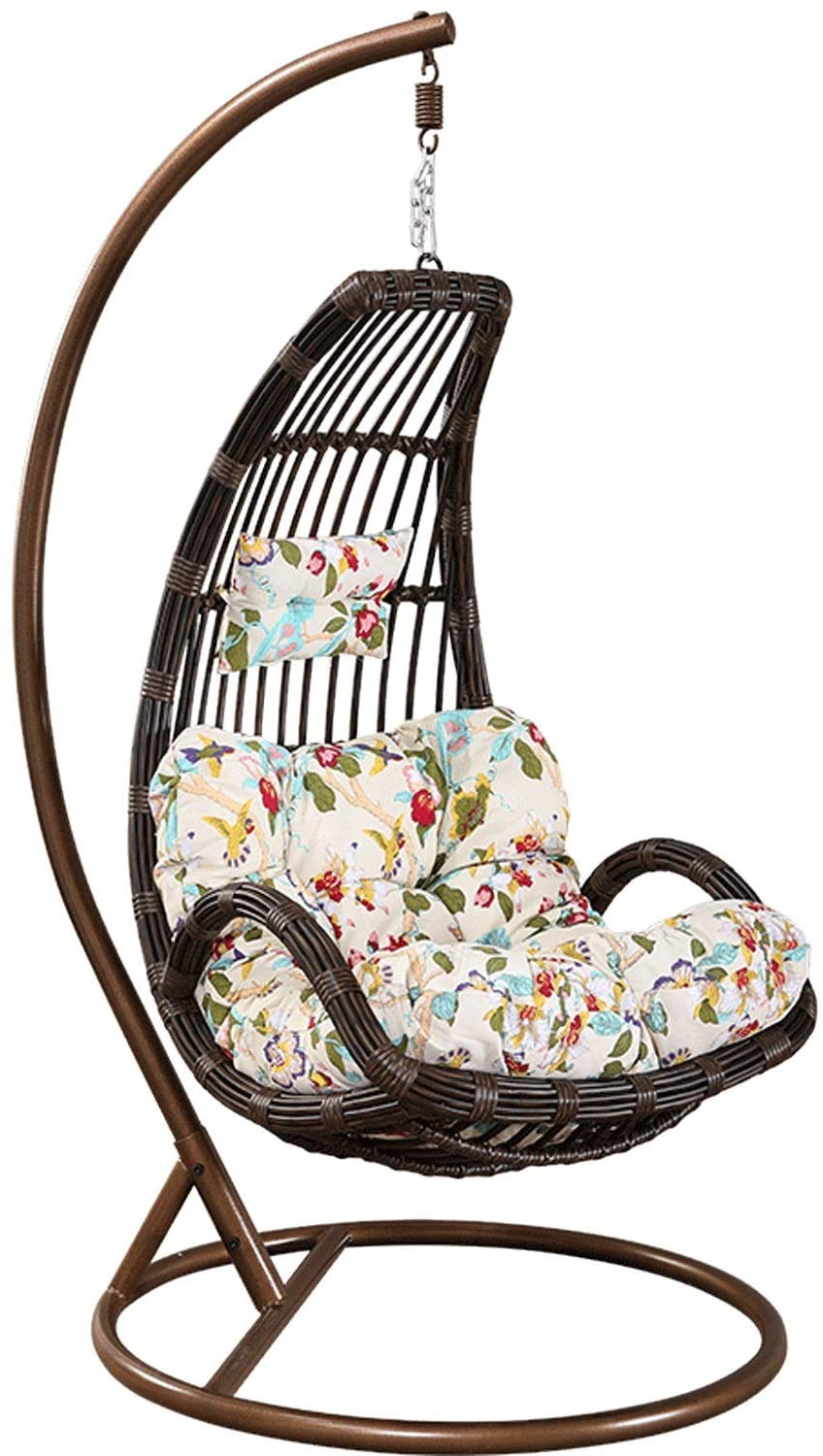 HOIHO New PE Rattan Hanging Chair, Outdoor Decoration Egg-Shaped Rocking Chair with Cushions Indoor Balcony Rest Cradle Chair to Send Carpet Weight 130KG (Color : Brown)