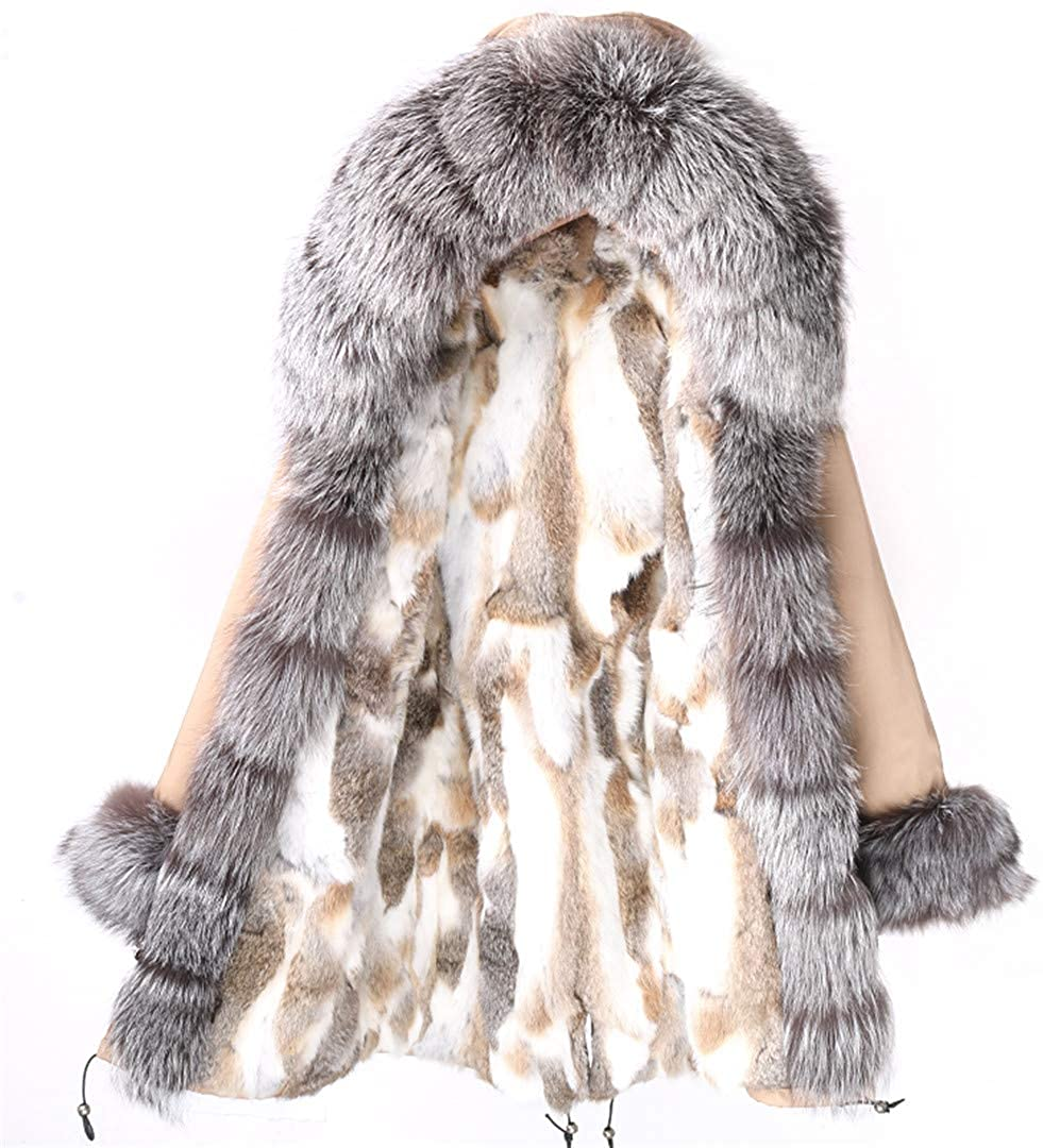 Waterproof Winter Coat Women Parka Long Plus Size Real Rabbit Fur Lined Jacket Fashion Female Outerwear Streetwear