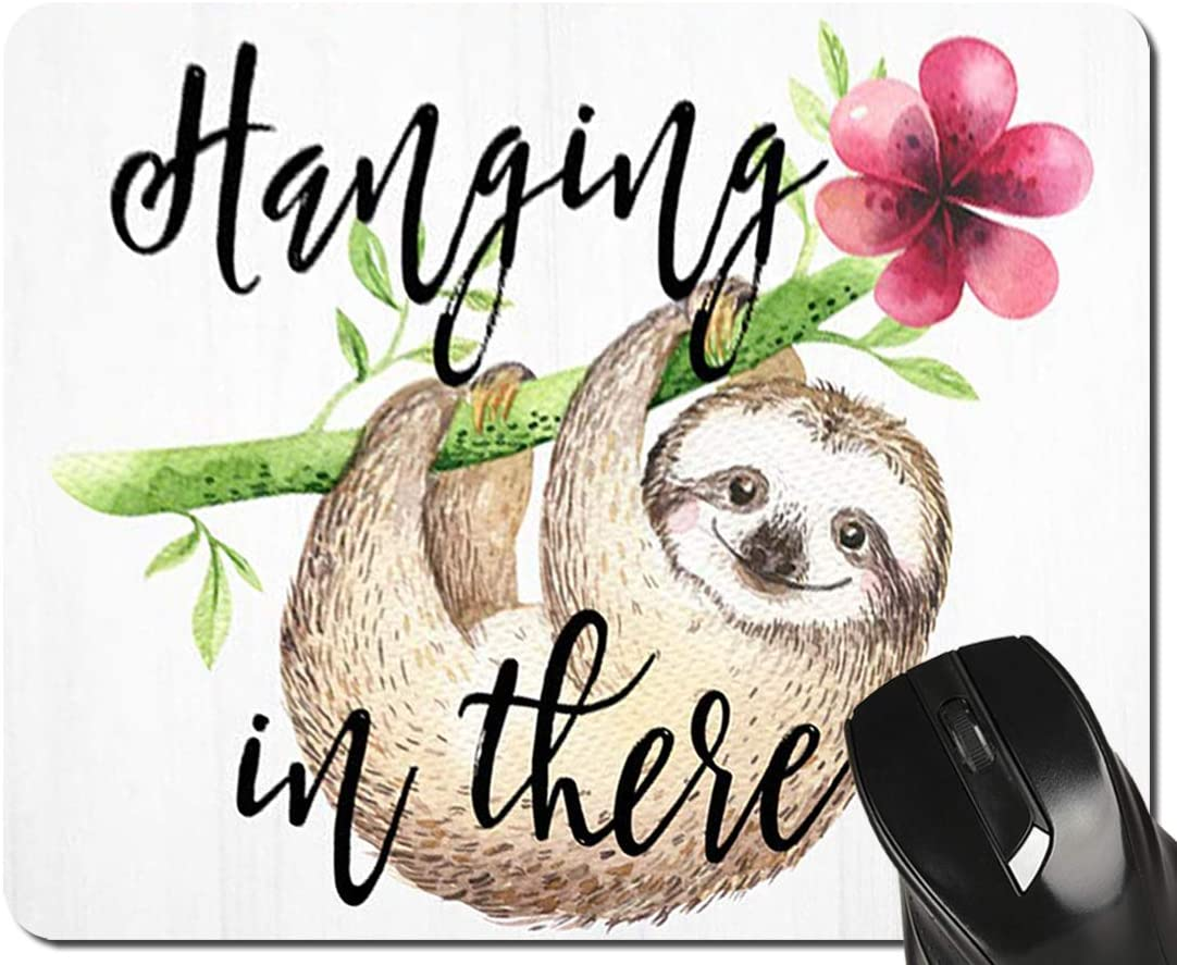 Lovely Sloth Mouse Pad Hanging in There Green and Pink Floral Watercolor Mousepad, 9.5 X 7.9 Inch (240mmX200mmX3mm)