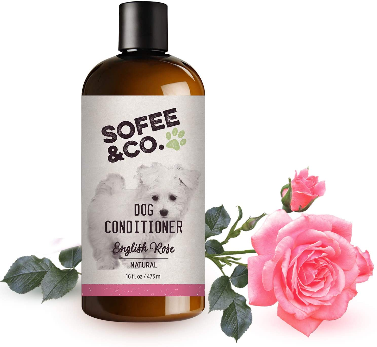 Sofee & Co. Natural Dog Puppy Conditioner - Moisturize Detangle Deodorize Condition Calm Soothe Soften Normal Dry Itchy Allergy Sensitive Skin. Prevent Mattes. 16 oz