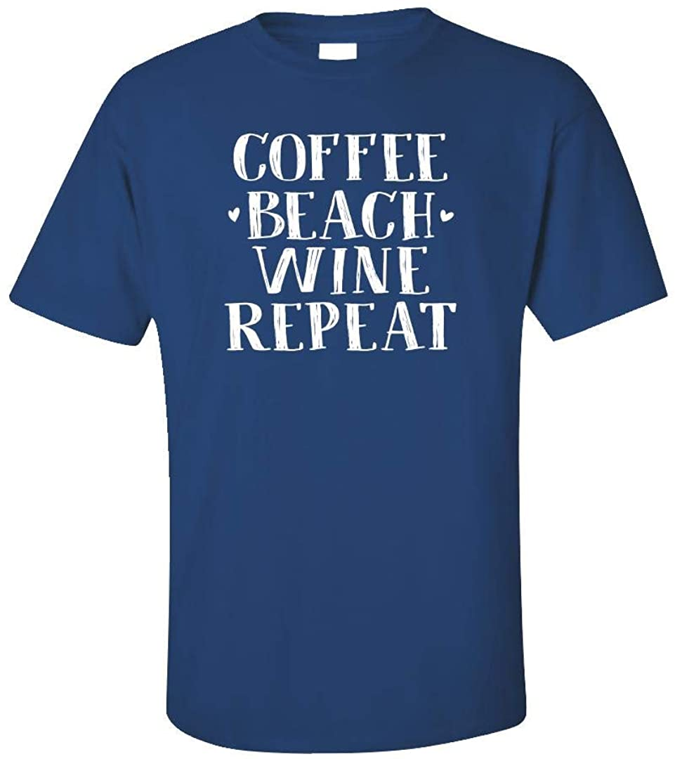 The Stuff Hut Coffee Lake Wine Repeat Shirt - Funny Wine Gift for Women and Men - Unisex T-Shirt