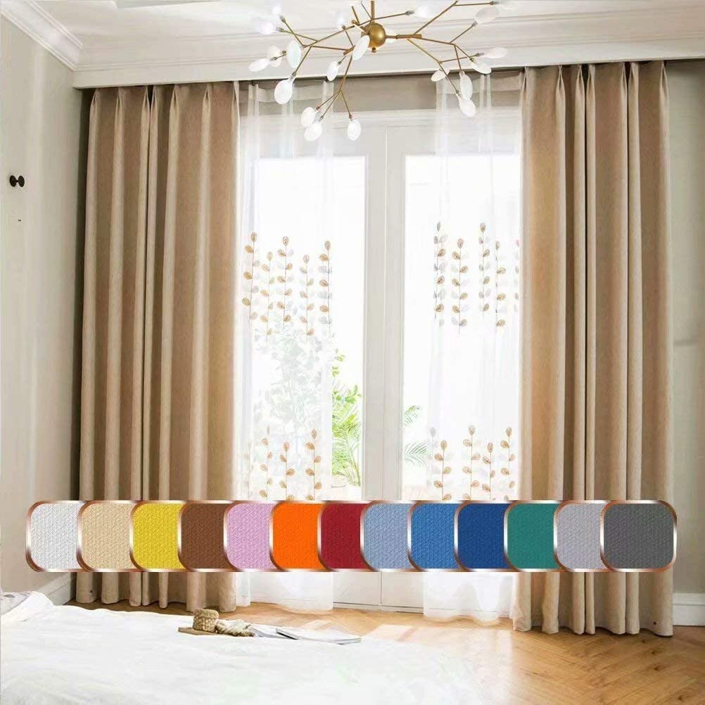 Leadtimes Beige Linen Curtains 84 Inch Wide by 63 Inch Long Thermal Blackout Grommet Room Darkening Curtain Panels, not Full Blackout