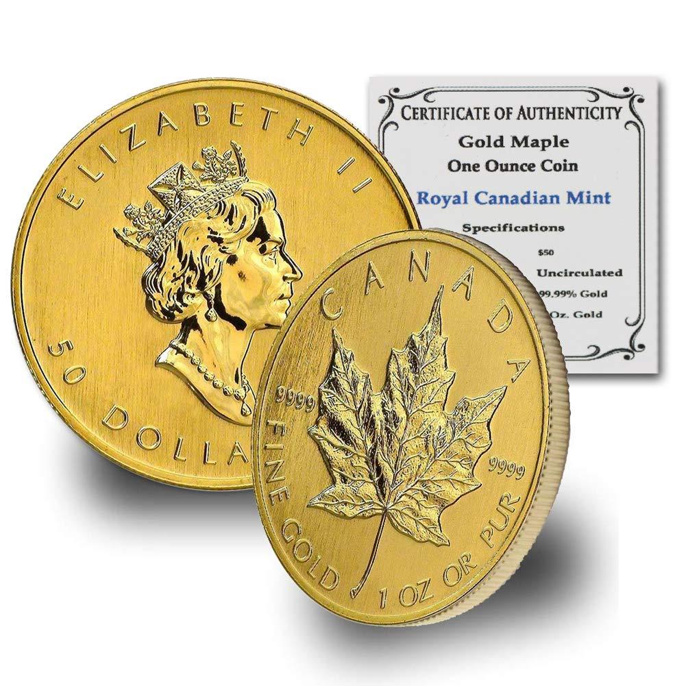 1979 CA - Present (Random Year) 1oz Gold Maple Leaf by CoinFolio w/ COA Gold $50 Brilliant Uncirculated Random Year