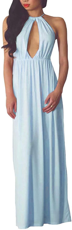 Bridesmaid Dress Long Halter Prom Dresses Chiffon Formal Party Dresses for Women A Line Graduation Dress Long
