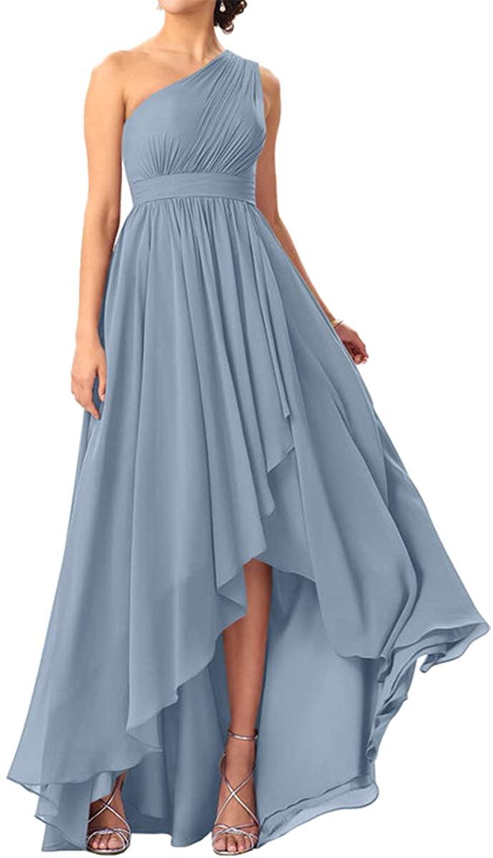 JAEDEN Bridesmaid Dress High Low Prom Dresses Chiffon Wedding Party Dress One Shoulder Bridesmaid Dresses Pleat