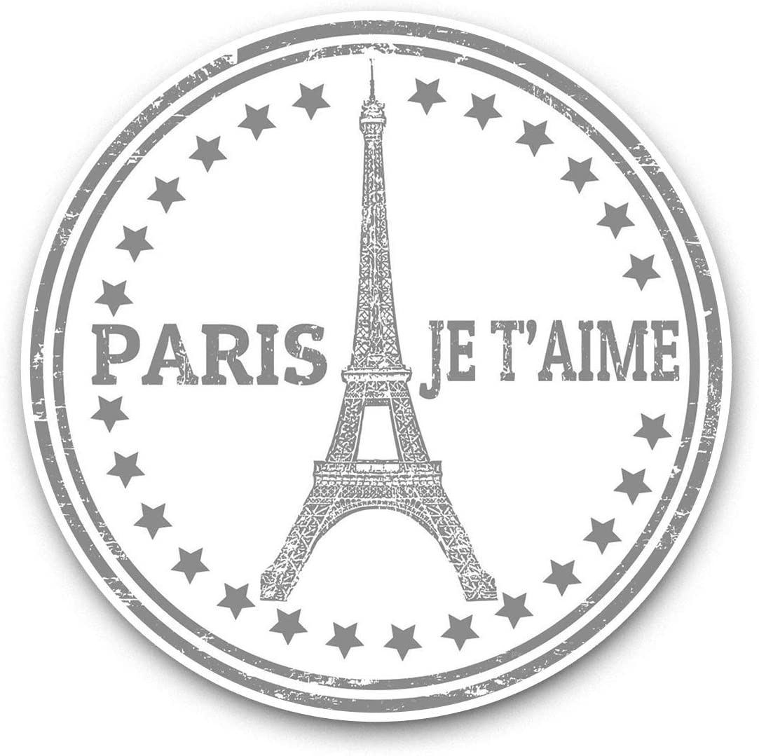 Awesome Vinyl Stickers (Set of 2) 7.5cm (bw) - Paris Eiffel Tower France Travel Fun Decals for Laptops,Tablets,Luggage,Scrap Booking,Fridges,Cool Gift #41896