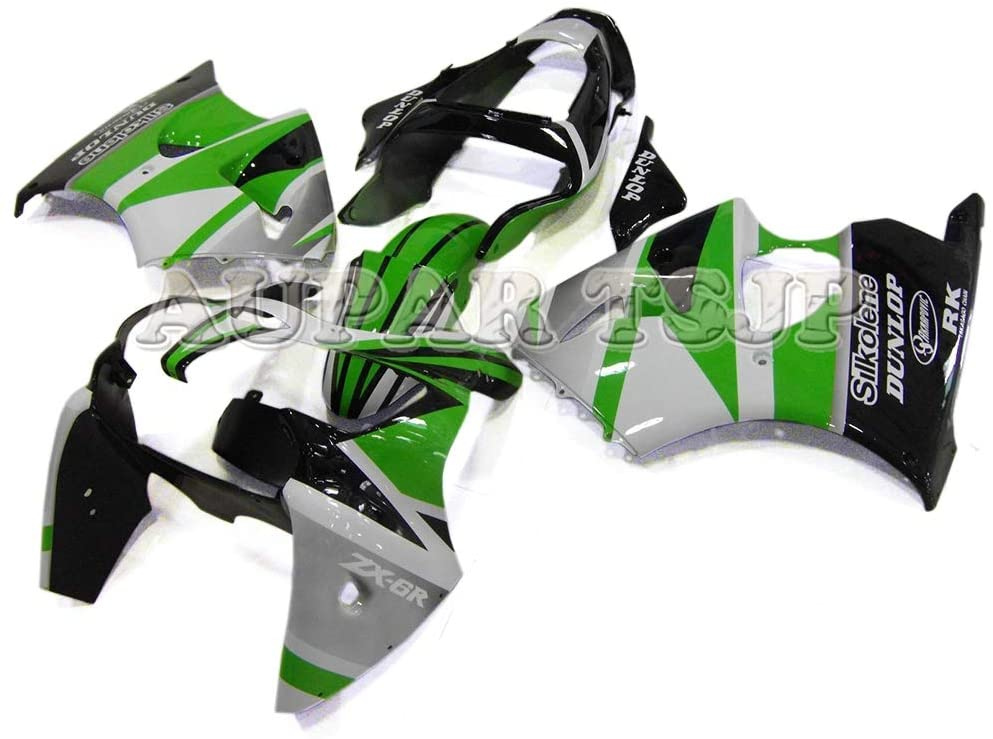 Complete Motorcycle Fairings for ZX-6R 2000 2001 2002 ZX6R 00 01 02 Injection ABS Plastic Bodywork White Green Black
