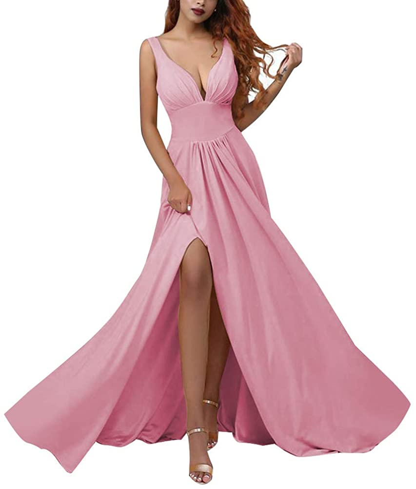 Deep V Neck Slit Prom Dresses Long A Line Pleated Formal Evening Party Gowns 2020 for Women