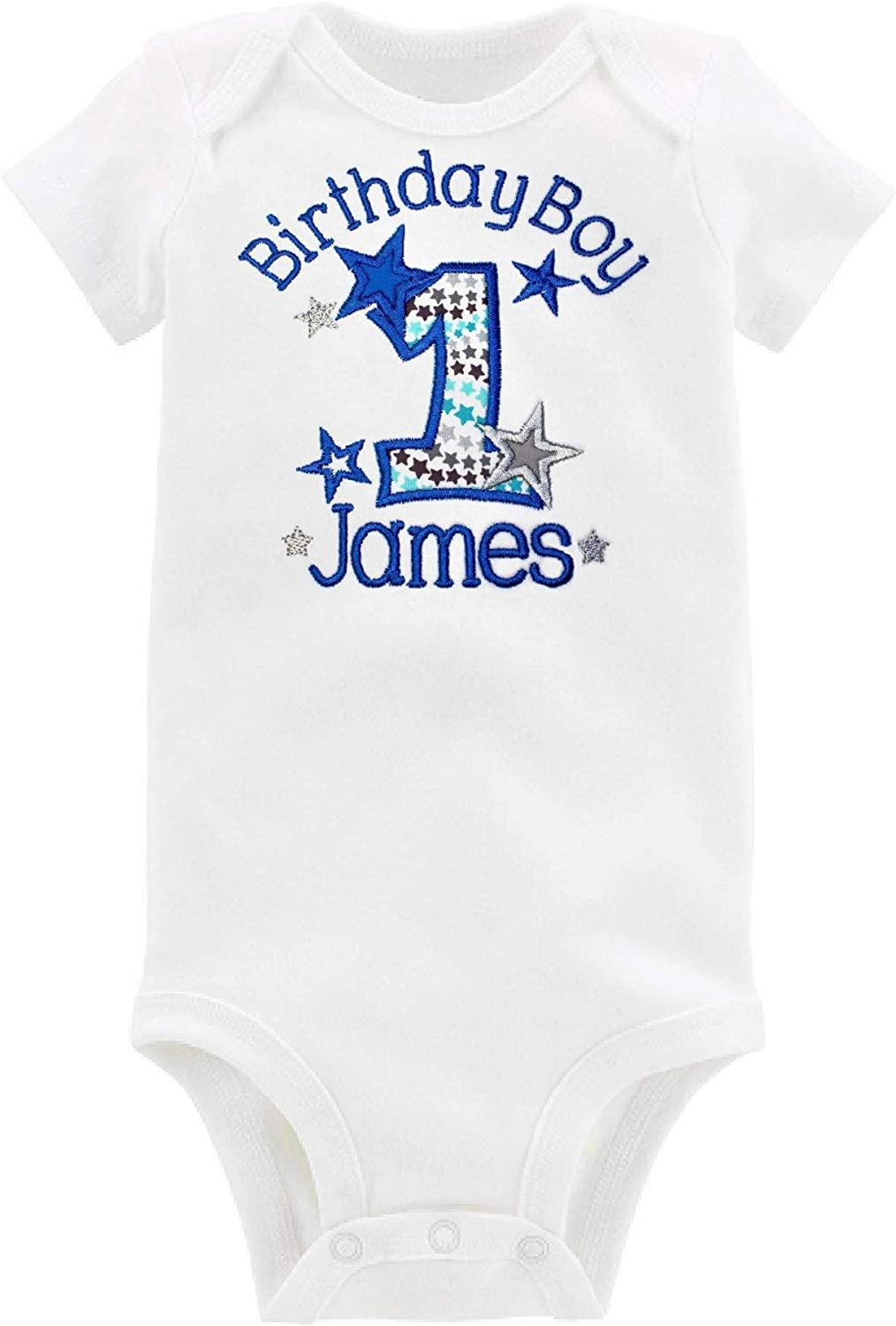 Embroidered First Birthday Year 1 Bodysuit for Baby Boys Personalized with Baby Custom Name