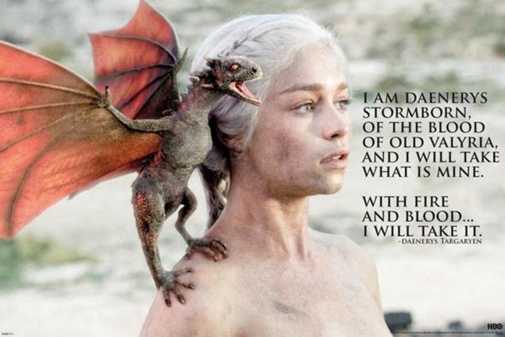Pyramid America Game of Thrones Daenerys Targaryen Cool Wall Decor Art Print Poster 36x24