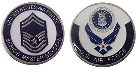 "Air Force Enlisted Ranks - Senior Master Sergeant ""E8'' Challenge Coin/Logo Poker/Lucky Chip"