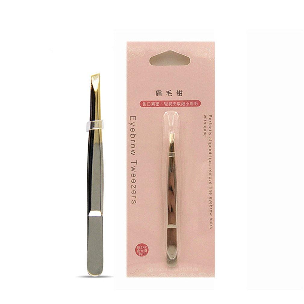1Pc Eyebrow Tweezer Pro 24K Gold Stainless Steel Slant Tip Eyes Tweezer Clip For Face Hair Removal Make Up Tools 24K Gold