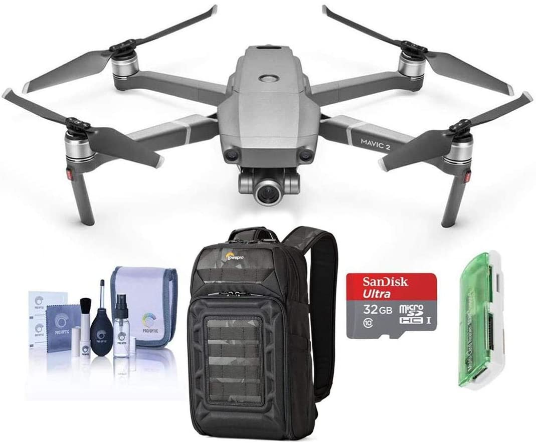 DJI Mavic 2 Zoom Drone Quadcopter with 24-48mm Optical Zoom Camera Video UAV 12MP 1/2.3-inch CMOS Sensor Bundle with Lowepro DroneGuard BP 200 Backpack + 64GB microSD Card + Reader + Cleaning Kit