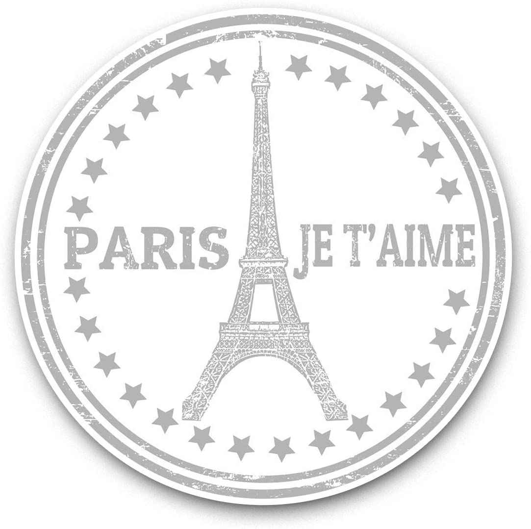 Awesome Vinyl Stickers (Set of 2) 7.5cm (bw) - Paris Eiffel Tower France Travel Fun Decals for Laptops,Tablets,Luggage,Scrap Booking,Fridges,Cool Gift #41897